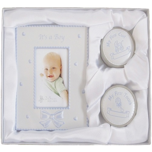 Baby Its A Boy Photo Frame First Tooth Curl Keepsake Gift Set