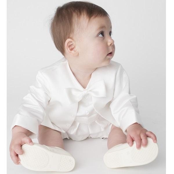 6342bf5de Baby Boys Ivory Tuxedo Style Christening Romper Suit ...