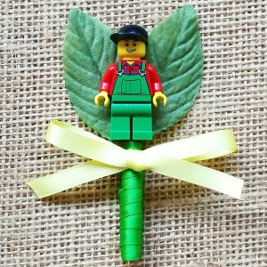 Boys Lego Farmer Buttonhole with Satin Bow & Stem