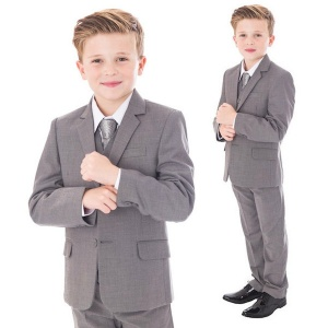 Boys Light Grey 5 Piece Jacket Suit