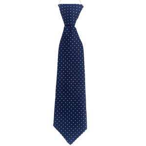 Boys Navy Dot Satin Tie on Elastic