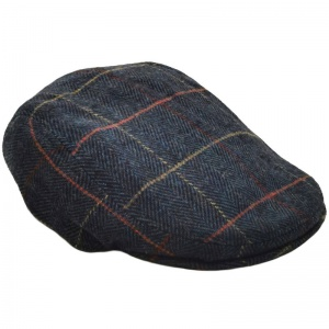 Boys Navy Tweed Herringbone Check Flat Cap
