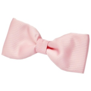 Boys Pale Pink Satin Plain Dickie Bow Tie on Elastic