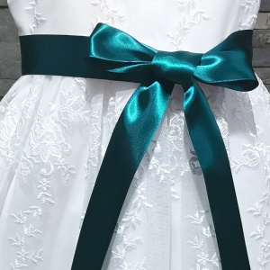 Girls Petrol Double Sided Satin Dress Sash