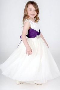 Girls Cadbury Purple & Ivory Diamante Brooch Dress