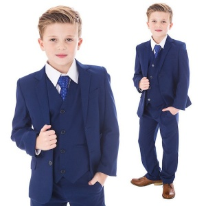 Boys Royal Blue 5 Piece Slim Fit Suit