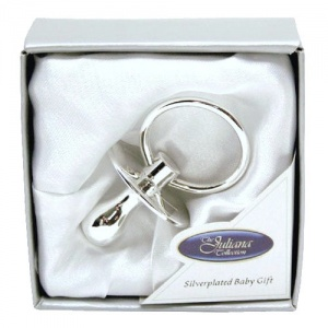 Silver Plated Data Dummy Christening Gift