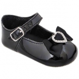 Baby Girls Black Patent Diamante Heart Bow Pram Shoes