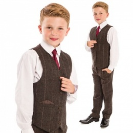 Boys Brown Tweed Check 4 Piece Waistcoat Suit