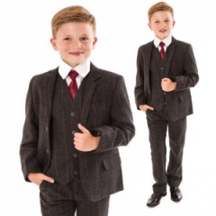 Boys Grey Tweed Check 5 Piece Jacket Suit