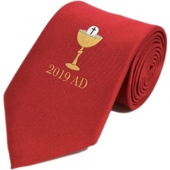 Boys Red Chalice & 2019 Date First Holy Communion Tie