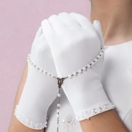 Emmerling White Beaded Communion Gloves - Style 74008
