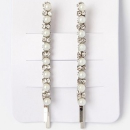 Girls Crystal & Pearl Bead Silver Hair Slide x 2