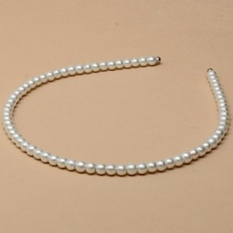Girls White Pearl Bead Alice Head Band