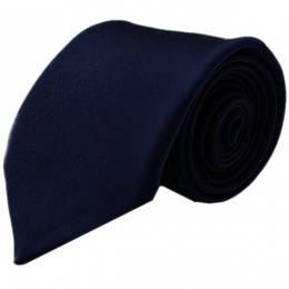 Boys Navy Blue Plain Satin Tie (45'')