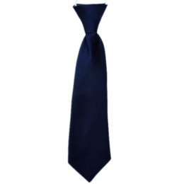 Boys Navy Blue Plain Satin Tie on Elastic