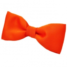 Boys Orange Satin Plain Dickie Bow Tie on Elastic