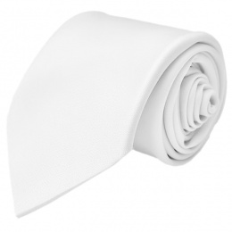Boys White Plain Satin Tie (45'')