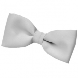 Boys Silver / Grey Satin Plain Dickie Bow Tie on Elastic