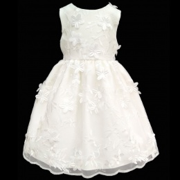 Girls Ivory Delicate Flower Embroidered Dress