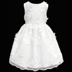 Girls White Delicate Flower Embroidered Dress