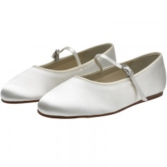 Abigail by Rainbow Club Ivory Diamante Buckle Satin Shoes
