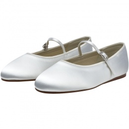 Abigail by Rainbow Club White Diamante Buckle Satin Shoes