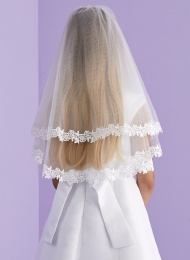 Girls White Two Tier Lace Trim Veil - Adele P151 by Peridot