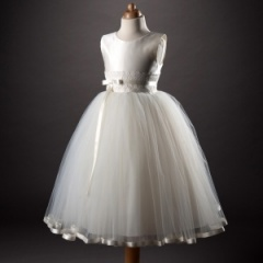 Busy B's Bridals 'Amalie' Ribbon & Tulle Porcelain Dress