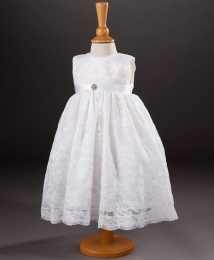 Girls Diamante Brooch Lace Dress - Anne-Marie by Millie Grace