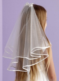 Girls Two Tier Satin Bow Veil - Ava P102 by Peridot