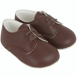 Baby Boys Brown Matt Lace Up Shoes 'Baypods'