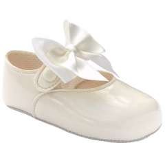 Baby Girls Ivory Large Satin Bow Patent Pram Shoes
