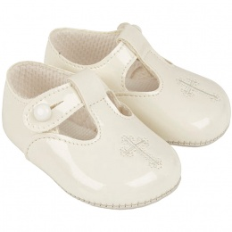 Baby Ivory Patent T-bar Cross Shoes 'Baypods'