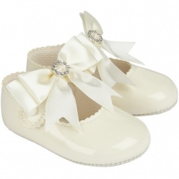 Baby Girls Ivory Large Diamante Bow Patent Pram Shoes