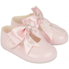 Baby Girls Pink Large Diamante Bow Patent Pram Shoes