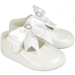 Baby Girls White Large Diamante Bow Patent Pram Shoes