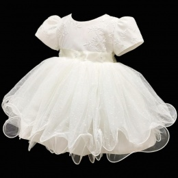 Baby Girls Ivory Embroidered Tulle Dress