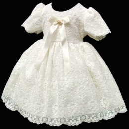 Baby Girls Ivory French Lace Bow Dress