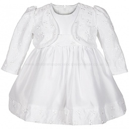 Baby Girls White Embroidered Dress & Bolero Jacket