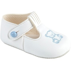 Baby Boys White & Sky Blue Matt T-Bar Teddy Pram Shoes