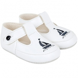 Baby Boys White & Navy T-Bar Boat Pram Shoes