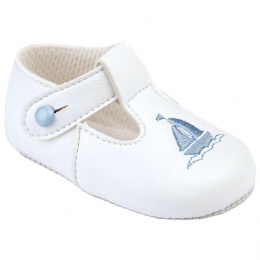 Baby Boys White & Sky Blue T-Bar Boat Pram Shoes
