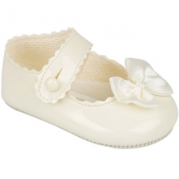 Baby Girls Ivory Button Bow Patent Pram Shoes