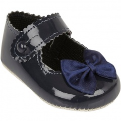 Baby Girls Navy Button Bow Patent Pram Shoes