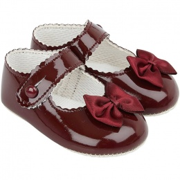 Baby Girls Burgundy Button Bow Patent Pram Shoes