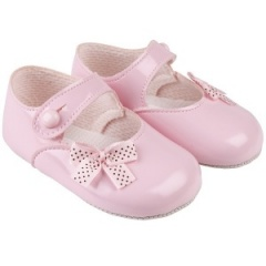 Baby Girls Pink Patent Polka Dot Bow Baypods Pram Shoes