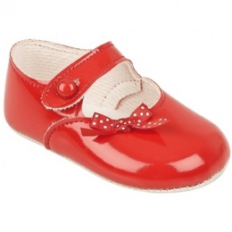 Baby Girls Red Patent Polka Dot Bow Baypods Pram Shoes