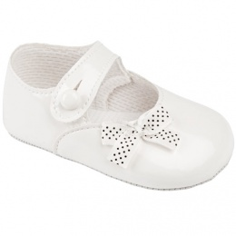 Baby Girls White Patent Polka Dot Bow Baypods Pram Shoes