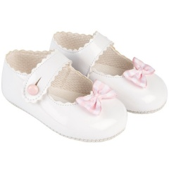 Baby Girls White & Pink Patent Gingham Bow Baypods Pram Shoes